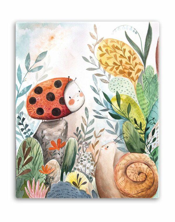 Vászonkép katicabogárral és a csiga barátjával