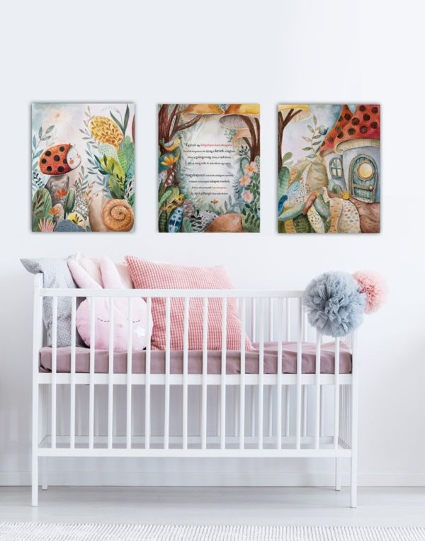 Canvas art set hanged above a cot