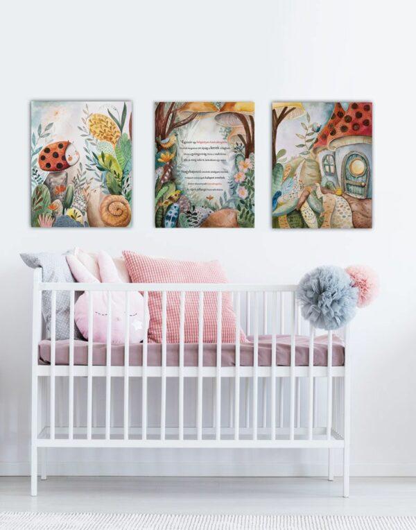 Katicabogaras vászonképsorozat gyerekszobában a bölcső felett
