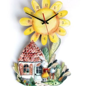 sunflower clock with bunny watering her flower