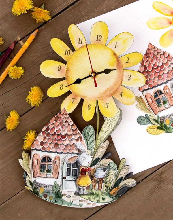 sunflower wall clock presentation with original illustration