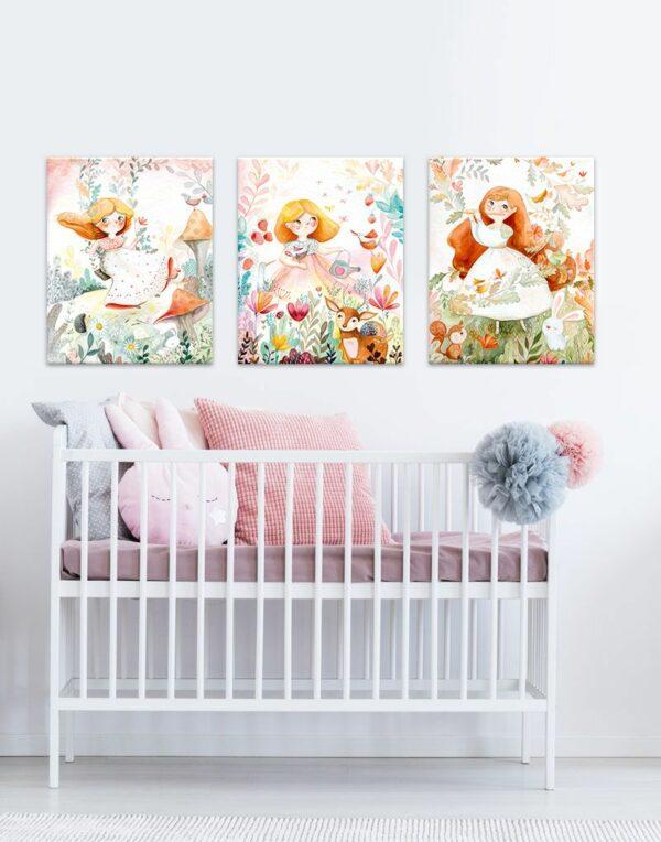 Fairies canvas print set in nursery room
