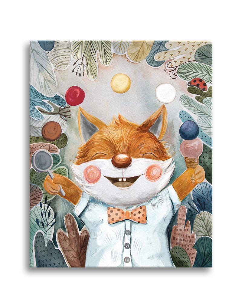 Little fox juggling with ice cream cones