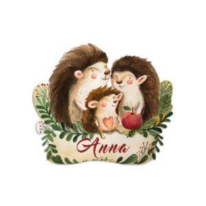Hedgehog family name plaque
