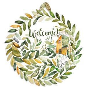 Welcome door hanger in english