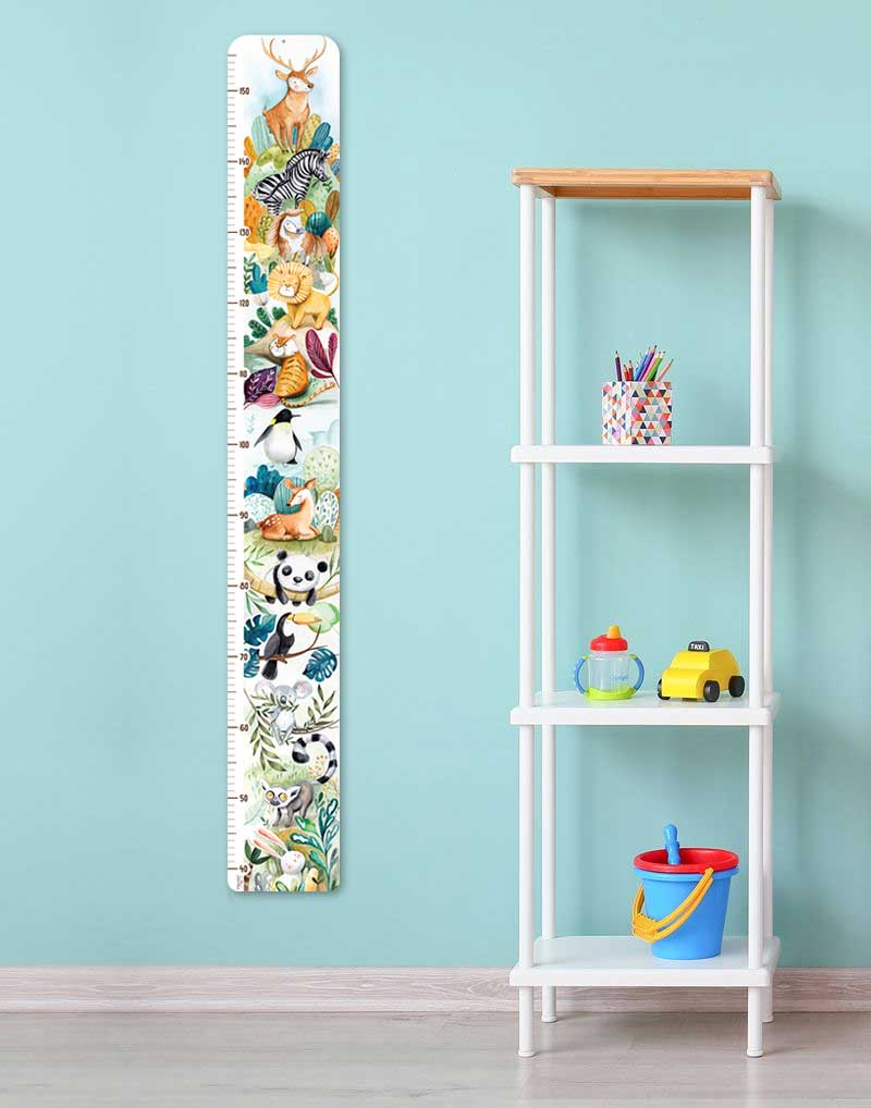 Growth chart hanged in a room wall