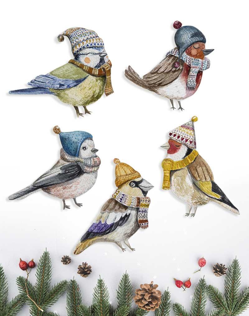 madárkás karácsonyi díszek